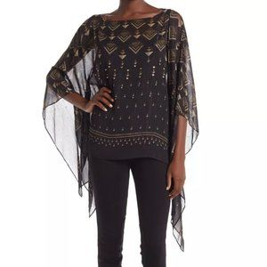 Vince Camuto Sheer Asymmetrical Geometric Blouse